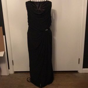 NWT - Chaps Black Draped Gown